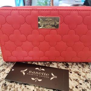 Elegant Red-Orange Nanette Lepore Wallet
